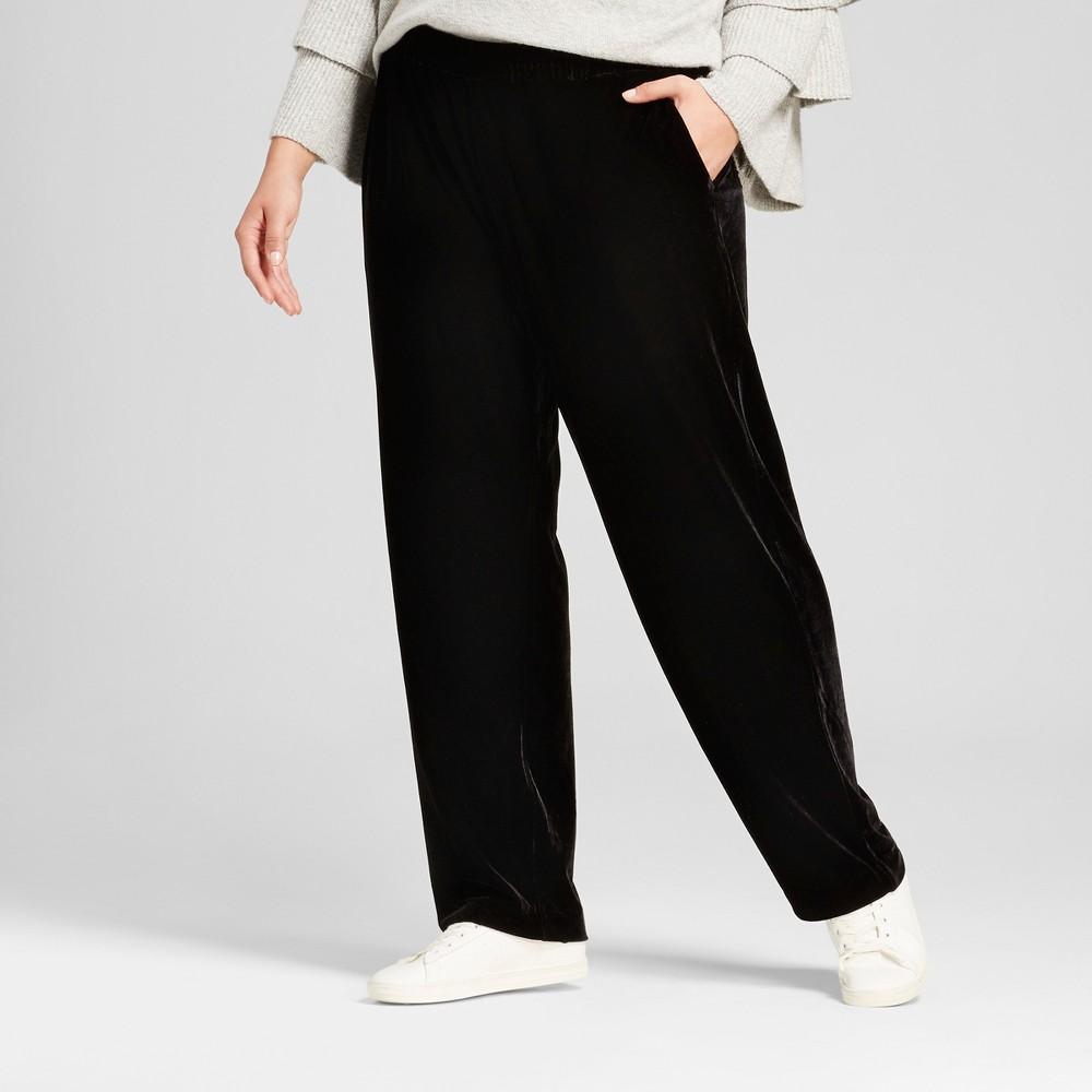 Womens Plus Size Velvet Jogger Pants - Who What Wear Black 1X