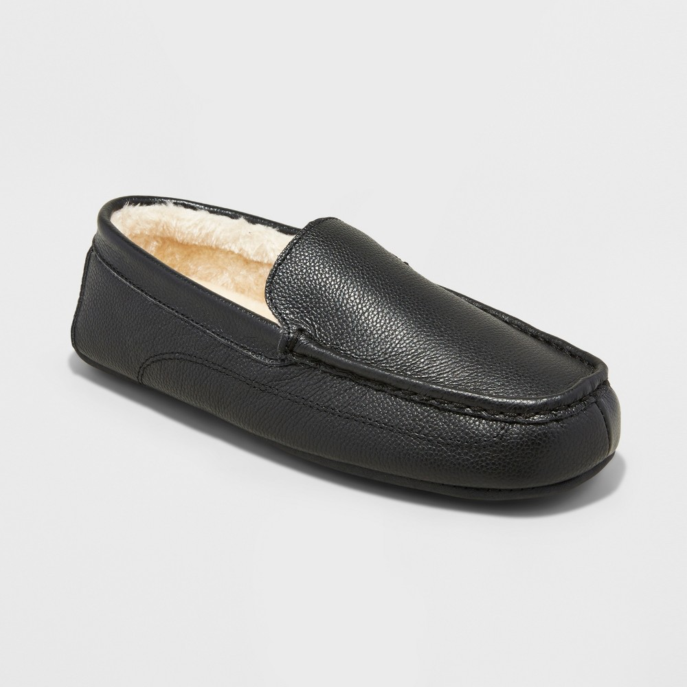 Mens Carlo Leather Driving Slippers - Goodfellow & Co Black 9