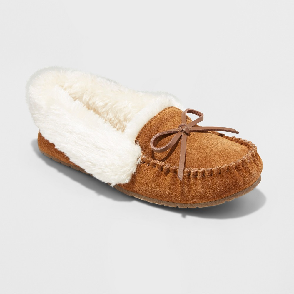Womens Tanisha Suede Moccasin Slippers - Mossimo Supply Co. Chestnut 7, Brown