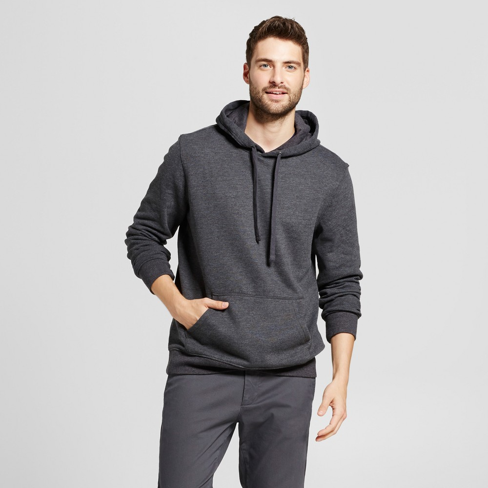 Mens Standard Fit Fleece Pullover Hoodie - Goodfellow & Co Charcoal (Grey) L