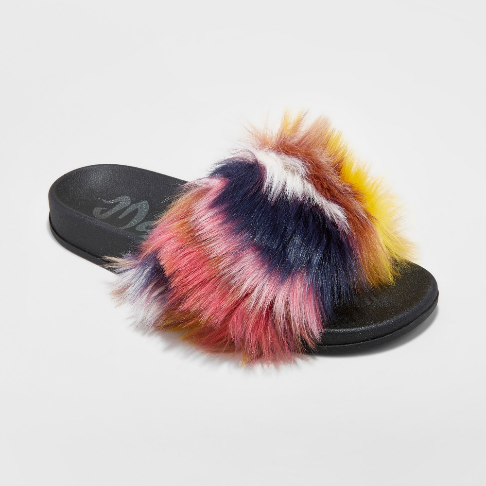 Womens Mad Love Phoebe Fur Slide Sandals - Pink/Navy/Yellow 7, Multi-Colored