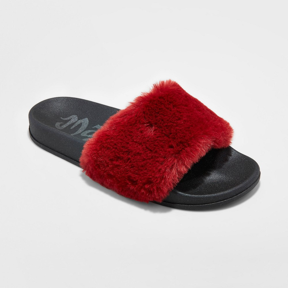 Womens Mad Love Phoebe Fur Slide Sandals - Red 11