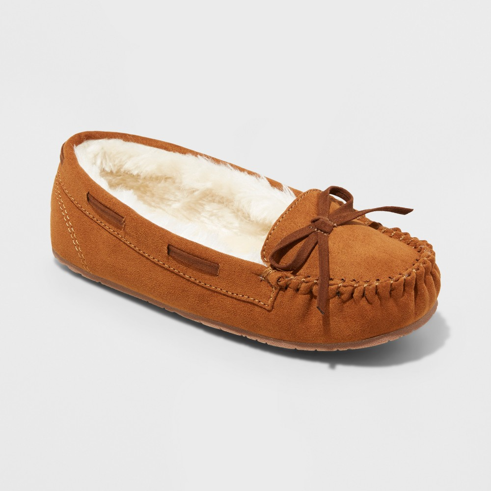 Girls Cadi Moccasin Slippers - Cat & Jack Chestnut L(4-5), Size: L (4-5), Brown