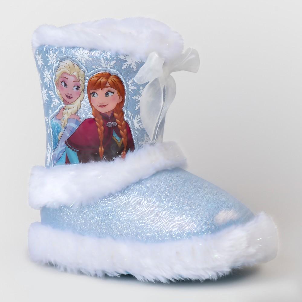 Toddler Girls Disney Frozen Bootie Slippers - Blue L(9-10), Size: L (9-10)