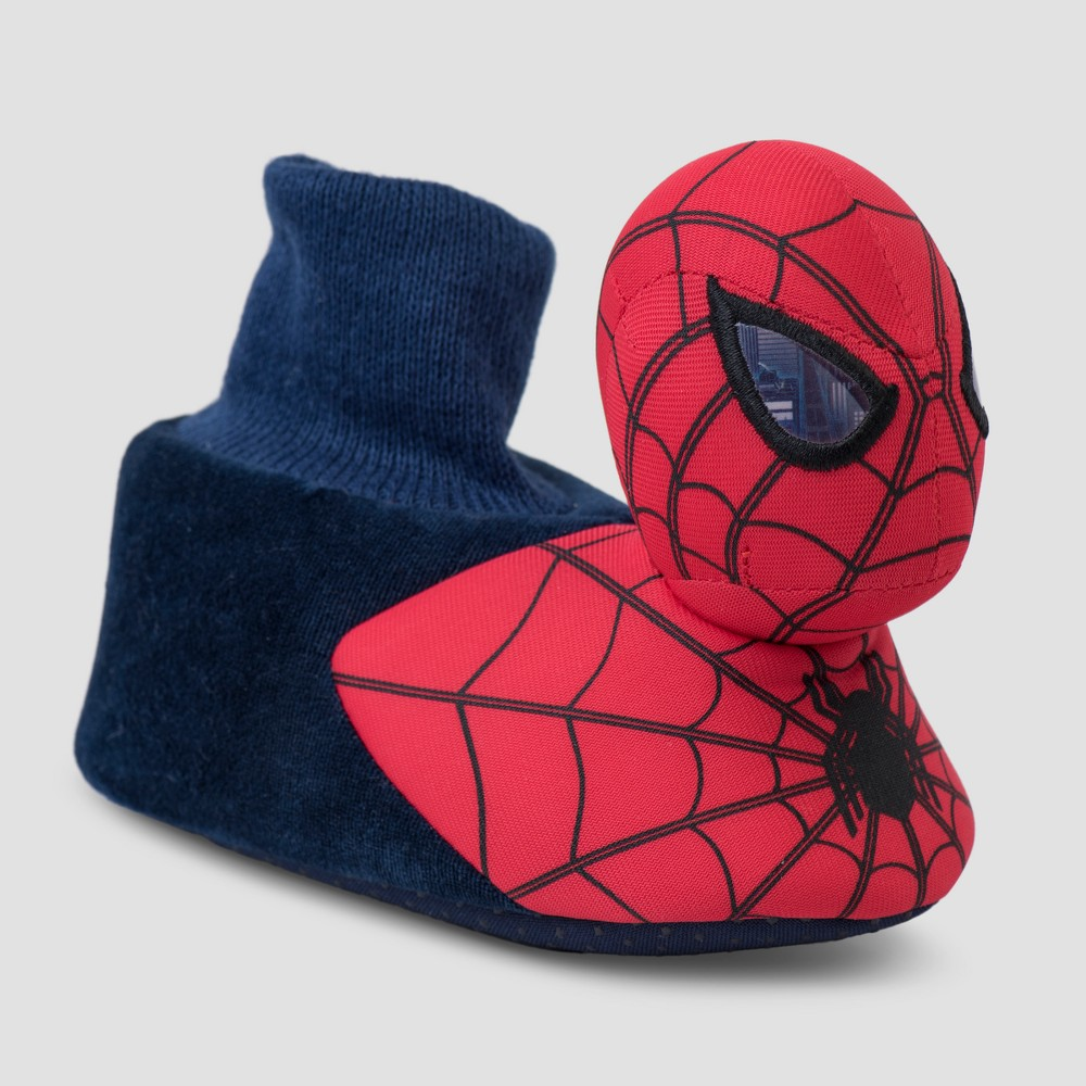 Toddler Boys' Marvel Spider-Man Bootie Slippers - Navy M(7-8), Size: M (7-8), Blue