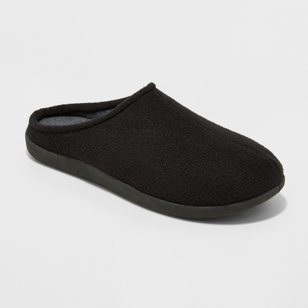 Mens Dedrick Fleece Clog Slippers - Goodfellow & Co Black L(11-12), Size: L (11-12)