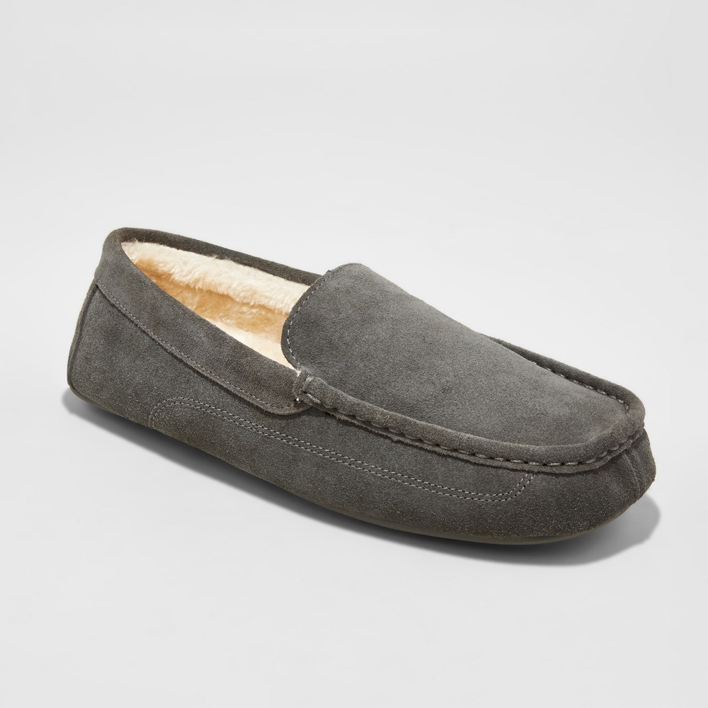 Mens Carlo Suede Driving Slippers - Goodfellow & Co Gray 13