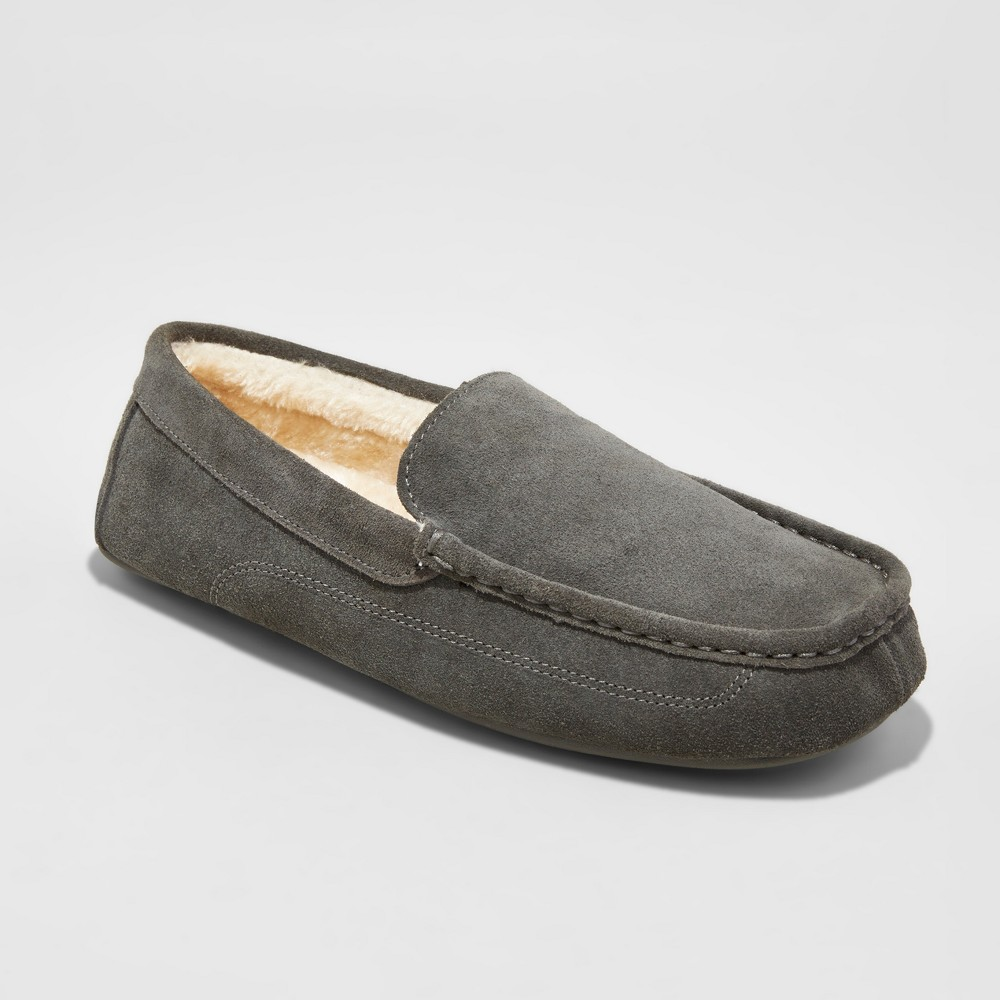 Mens Carlo Suede Driving Slippers - Goodfellow & Co Gray 9