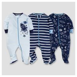 Baby Boys' 3pk Zip Front Sleep N Play - Space - Gerber®