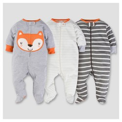Baby Boys' 3pk Zip Front Sleep N Play - Fox - Gerber®