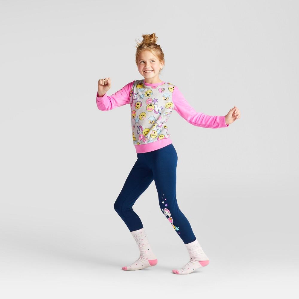 Girls EmojiNation Pajama Set - Pink 8, Multicolored