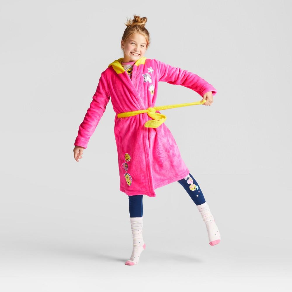 Girls EmojiNation Character Hood Emoji Robe - Pink S