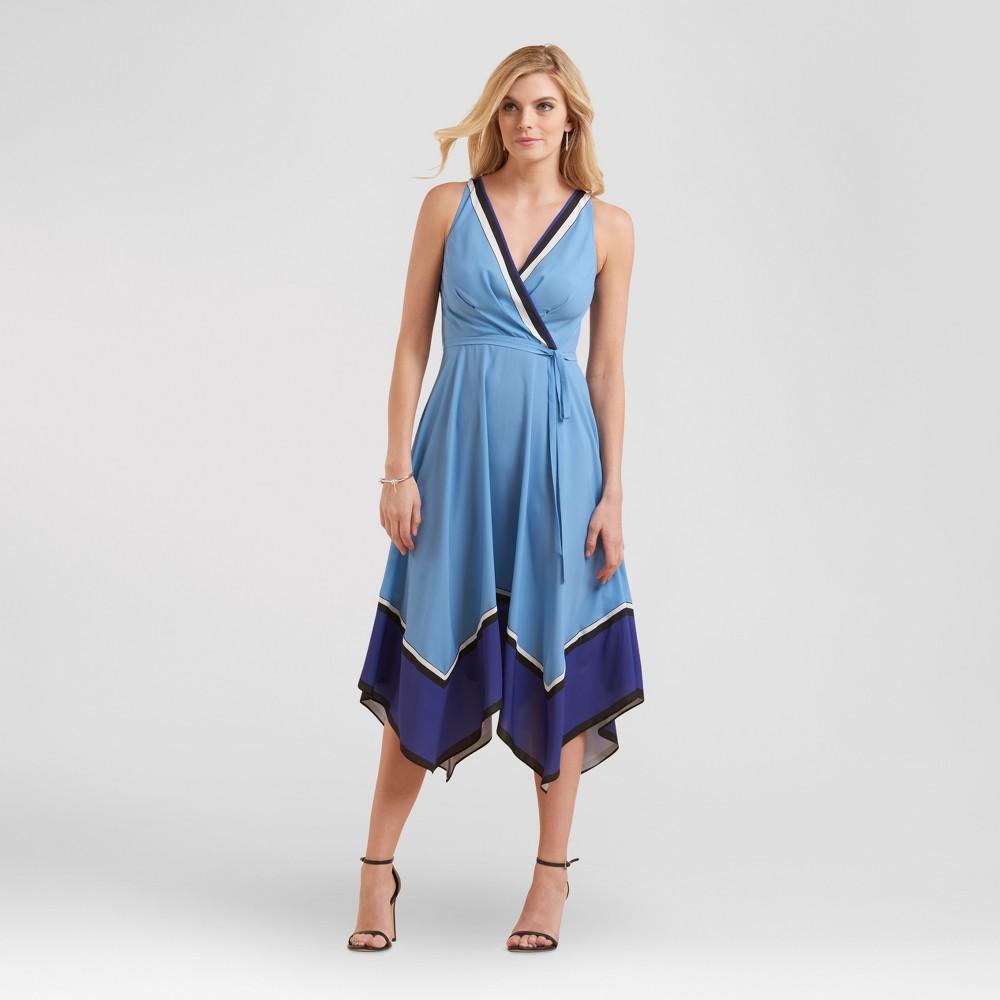 Womens Color Blocked Tie Waist Sharkbite Dress - Sami & Dani - Blue 10