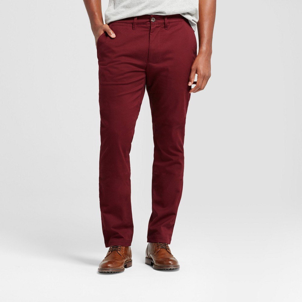 Mens Athletic Fit Hennepin Chino Pants - Goodfellow & Co Burgundy (Red) 34X34