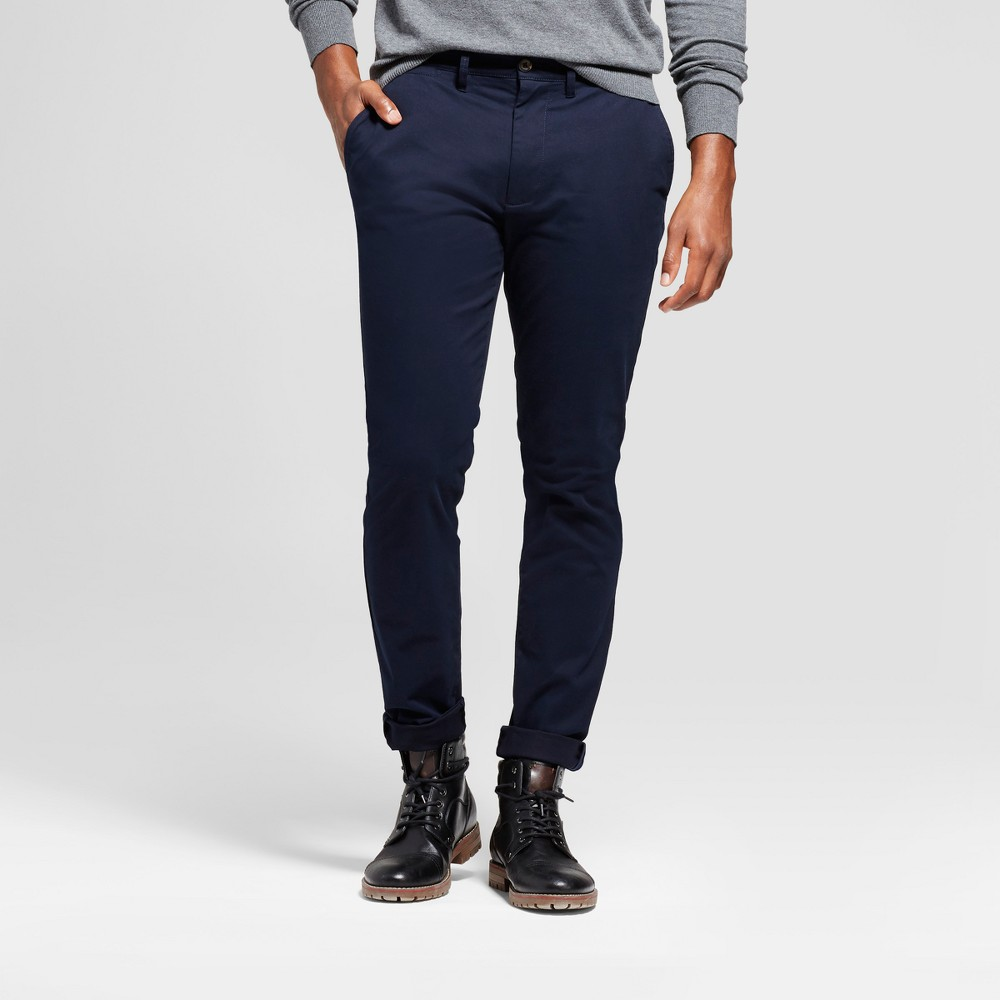 Mens Athletic Fit Hennepin Chino Pants - Goodfellow & Co Navy (Blue) 28X30