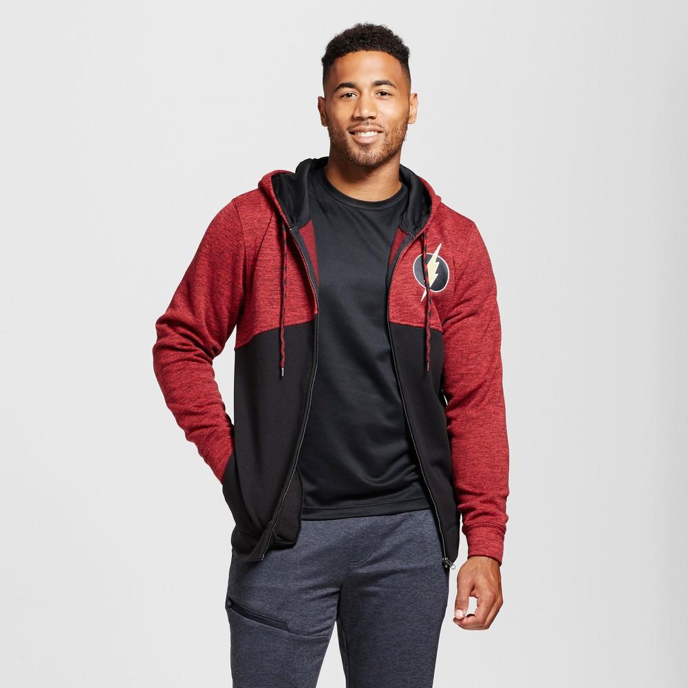 Mens Flash Zip Up Hoodie Dark Red L, Size: XL