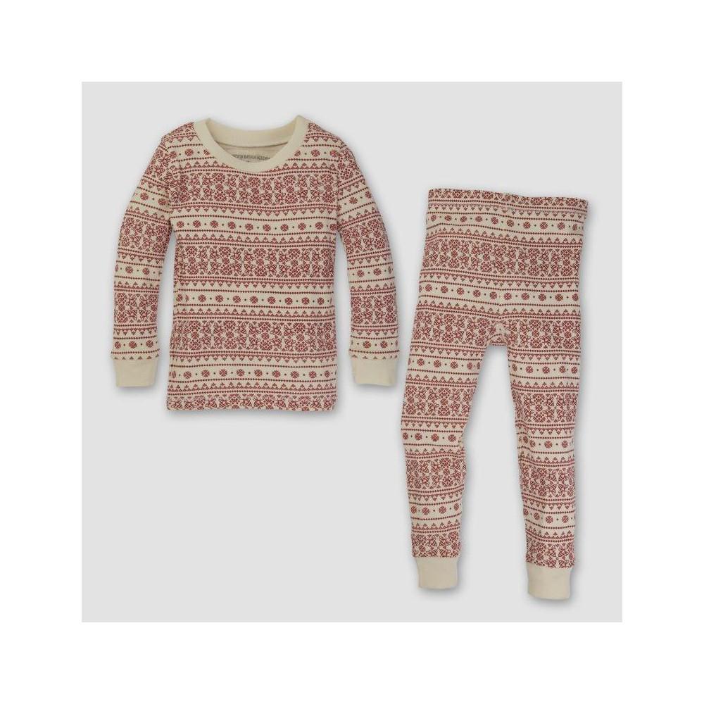 Burts Bees Baby Toddler Organic Cotton 2pc Fair Isle Pajama Set - Ivory 4T, Toddler Unisex, White