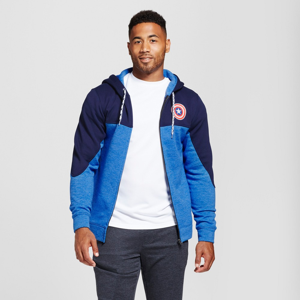 Mens Captain America Zip Up Hoodie Navy Heather M, Size: Large, Blue