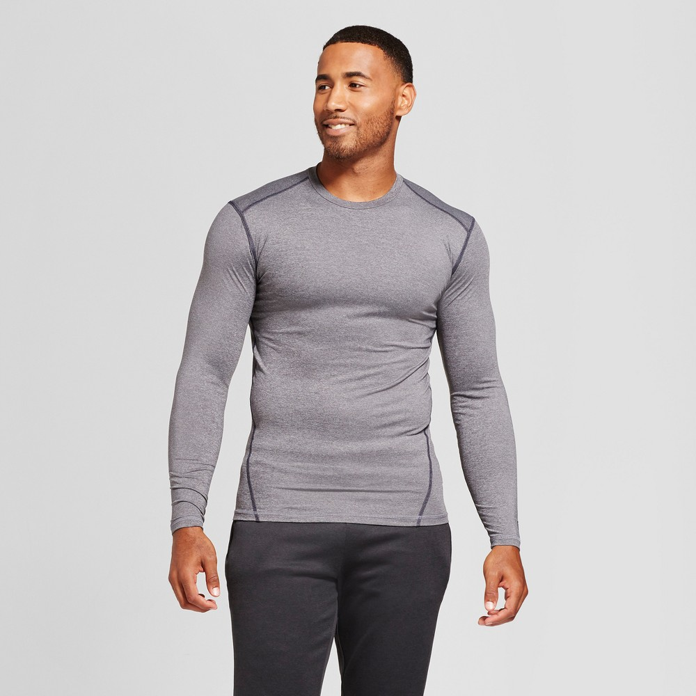 Mens Power Core Compression Long Sleeve Shirt - C9 Champion Charcoal Gray Heather XL, Charcoal Heather