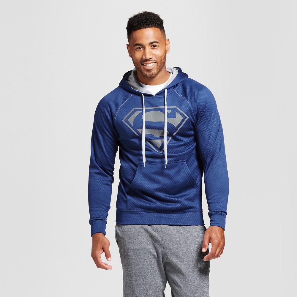 Mens Superman Hoodie Navy L, Size: XL, Blue