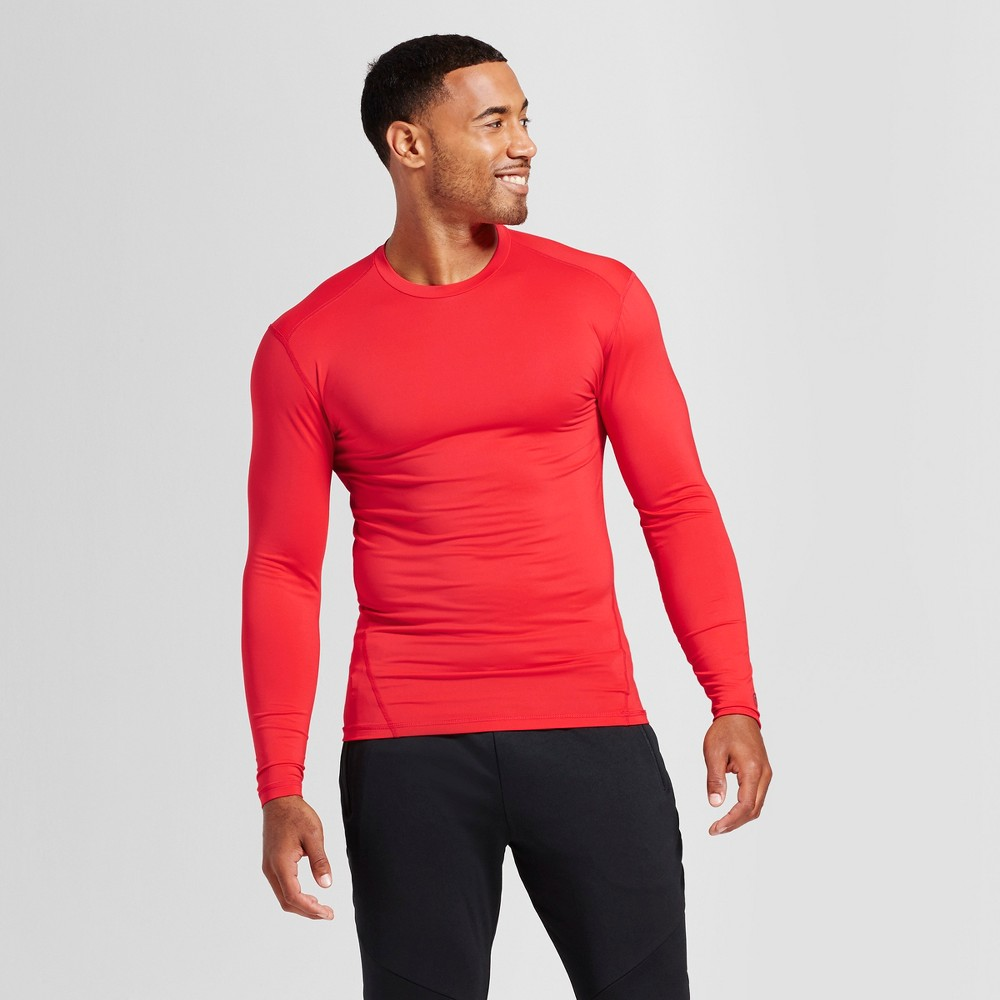 Mens Power Core Compression Long Sleeve Shirt - C9 Champion Scarlet (Red) M
