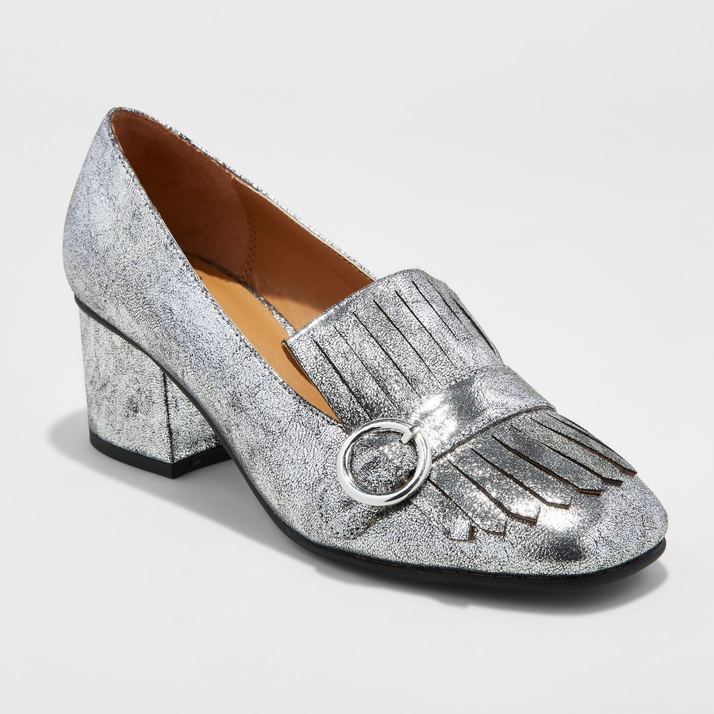Womens Gilda Loafer Heel Pumps - A New Day Silver 6.5