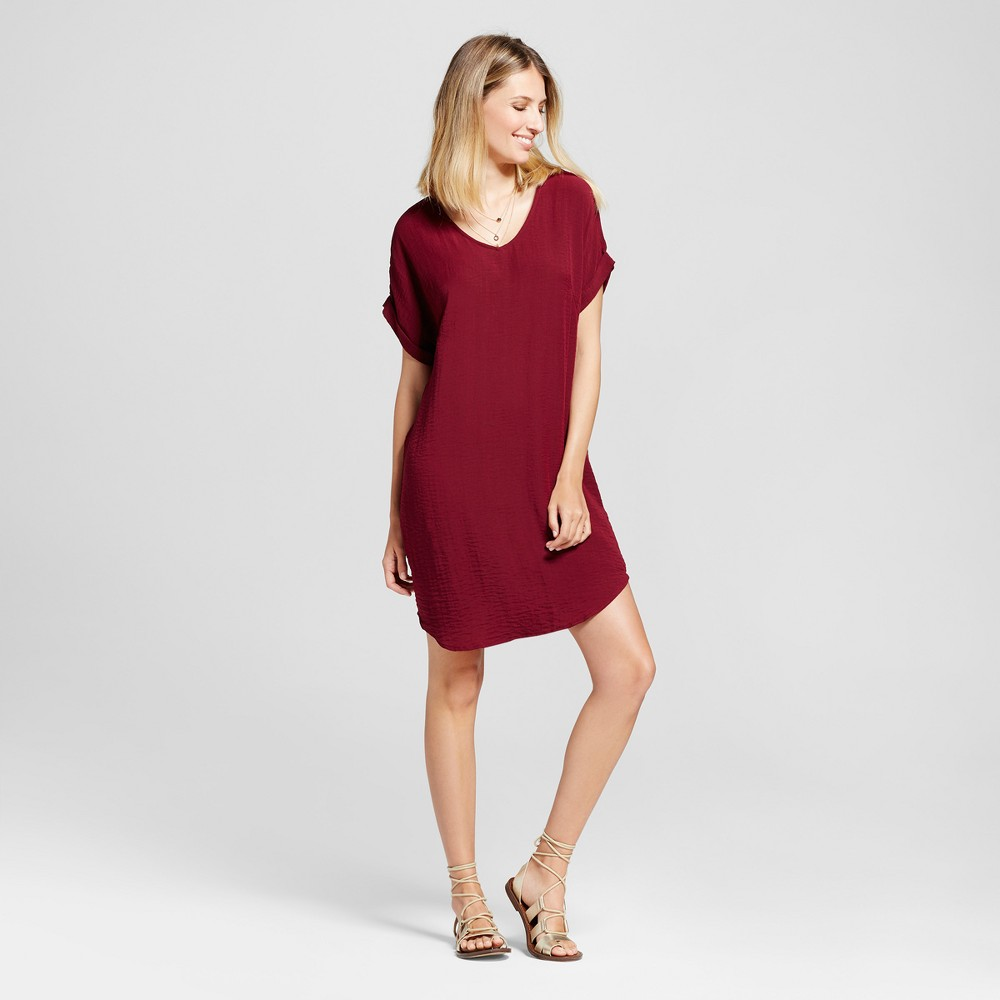 Womens V-Neck Roll Sleeve Shift Dress - Zac & Rachel - Wine 12, Red