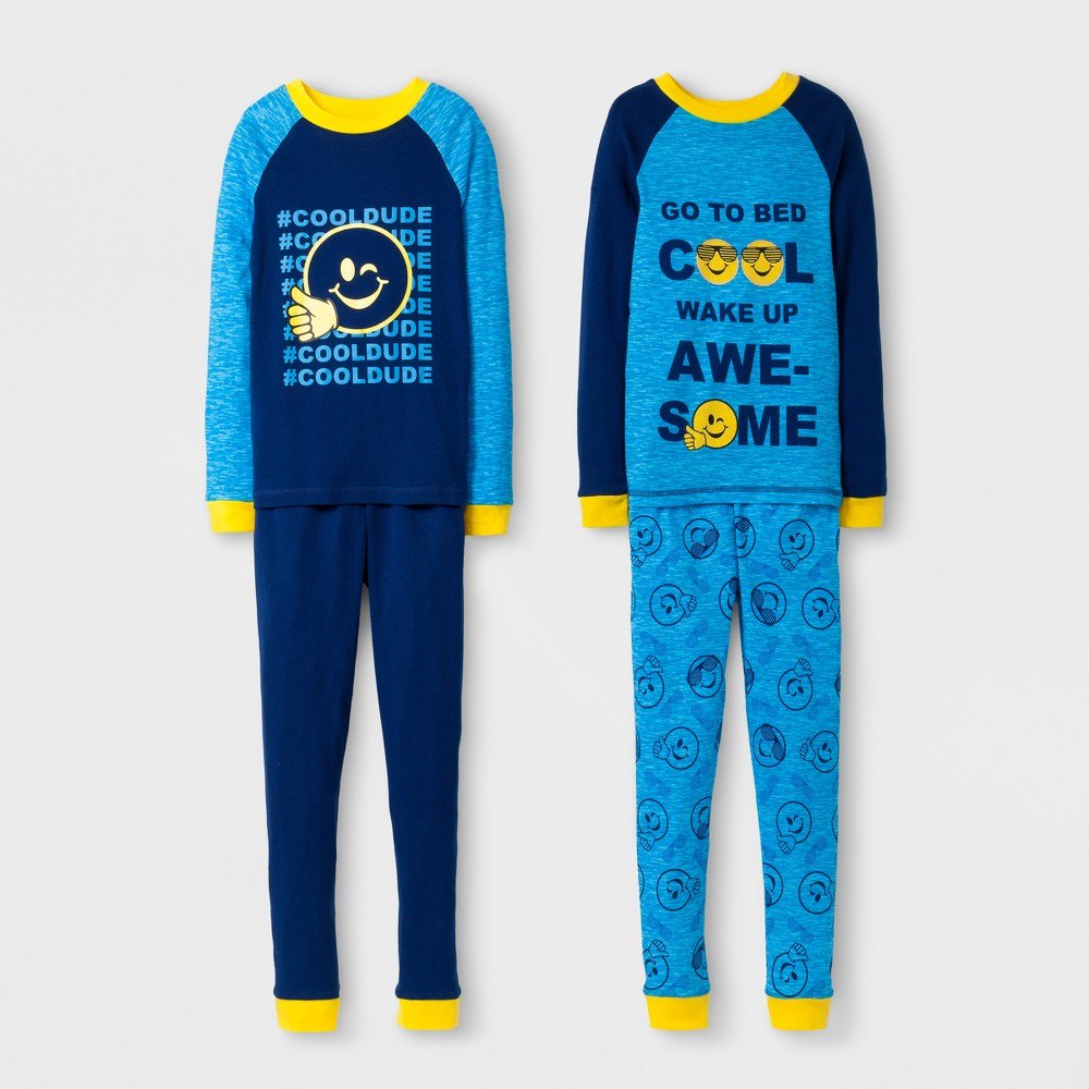 Boys Emoji Nation Pajama Set - Blue 4