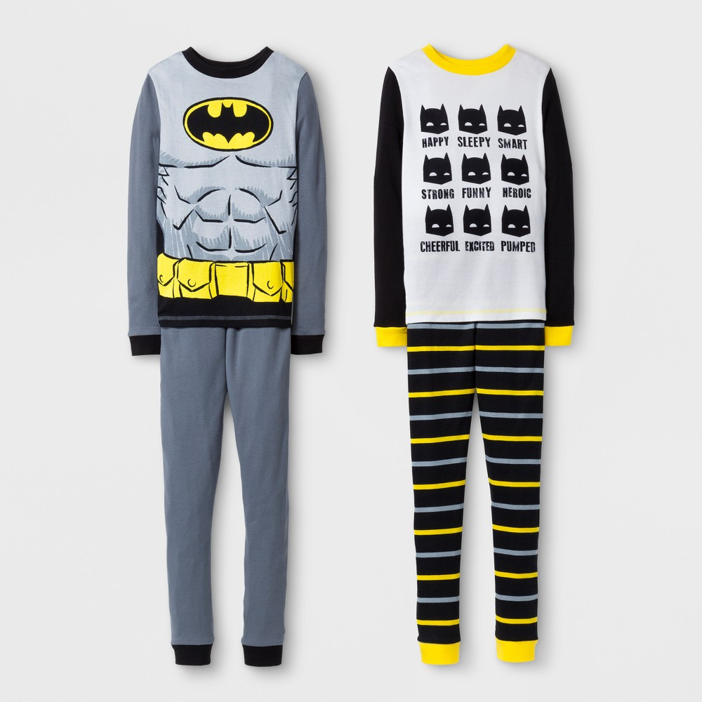 Boys DC Comics Batman 4pc Pajama Set - Black 10