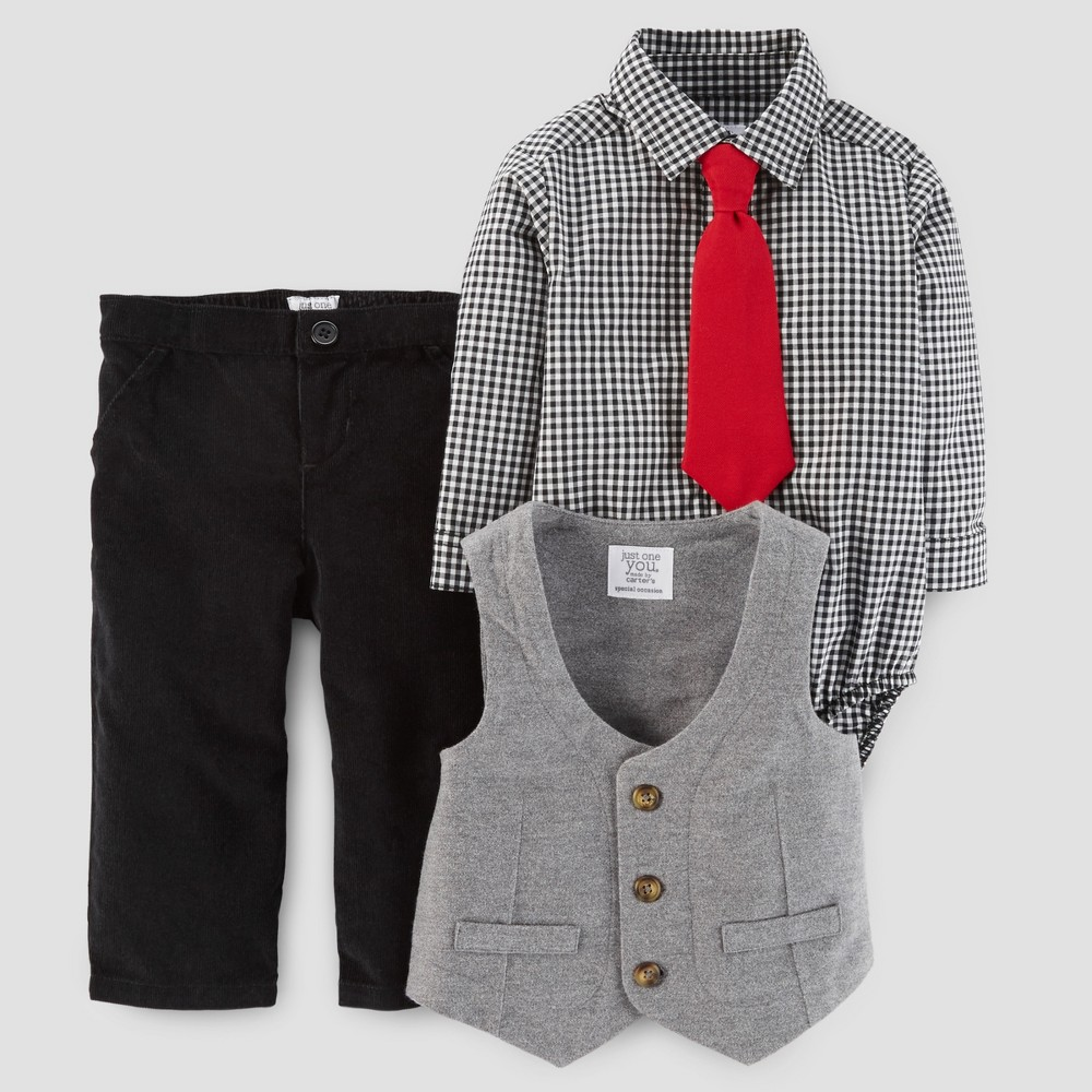 Baby Boys 4pc Vest, Tie and Pants Set - Just One You Made by Carters Gray/Black NB