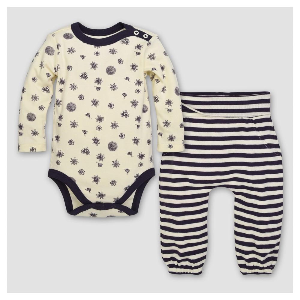 Burts Bees Baby Girls Organic Forage Finds Bodysuit & Pants Set - Cream 18M, Size: 18 M, Beige