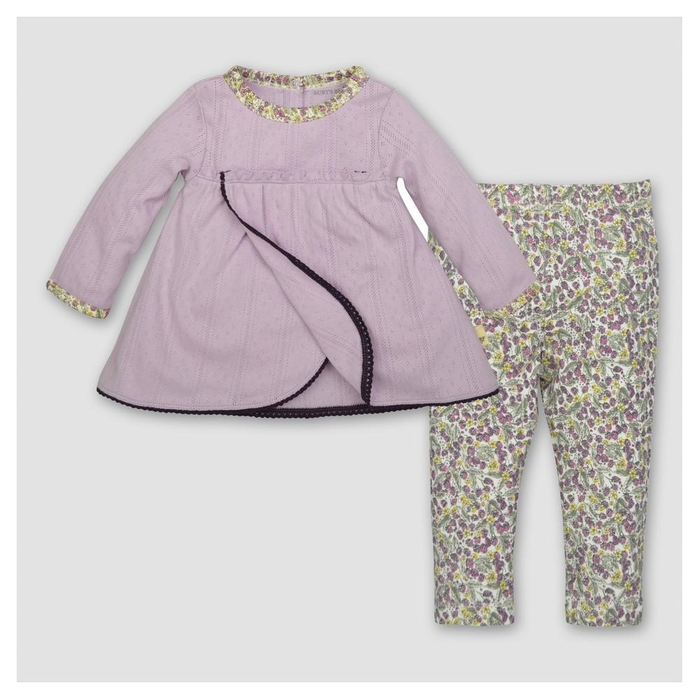 Burts Bees Baby Girls Organic Petal Pointelle Dress & Pants Set - Purple 0-3M, Size: 0-3 M