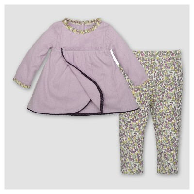 Burt's Bees Baby® Girls' Organic Petal Pointelle Dress & Pants Set - Purple 3-6M
