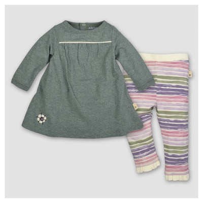 Burt's Bees Baby® Girls' Organic V-Neck Dress & Pants Set - Green 0-3M