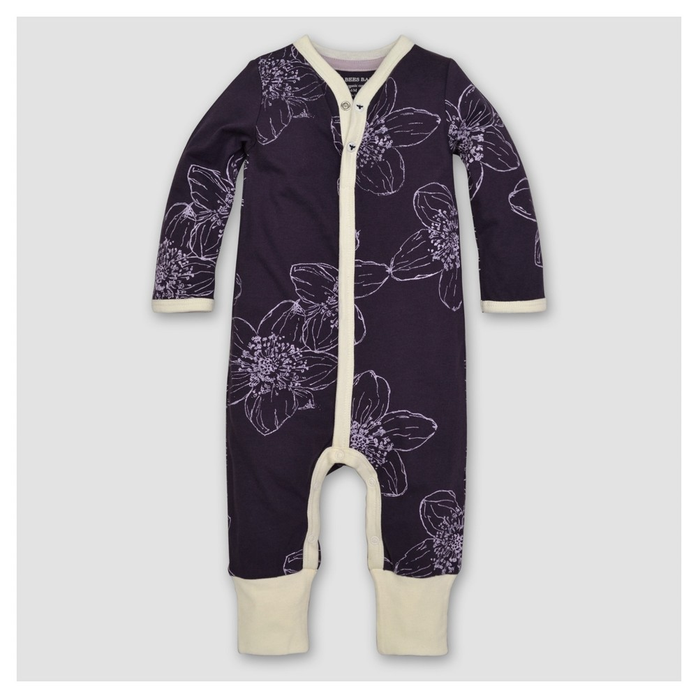 Burts Bees Baby Girls Organic Floral Coverall - Purple 6-9M, Size: 6-9 M