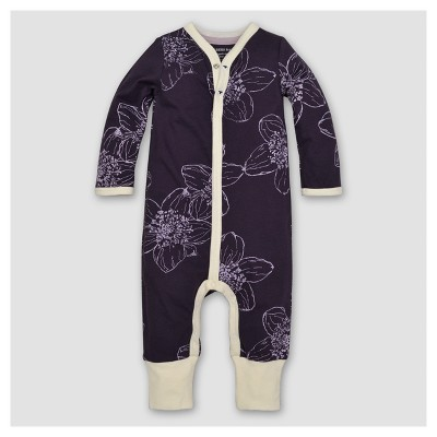 Burt's Bees Baby® Girls' Organic Floral Coverall - Purple 0-3M