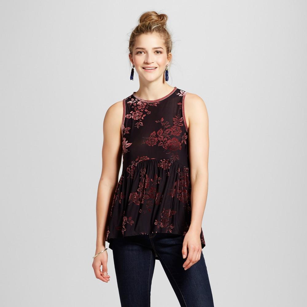 Womens Velvet Burnout Peplum Tank - Knox Rose Black XL
