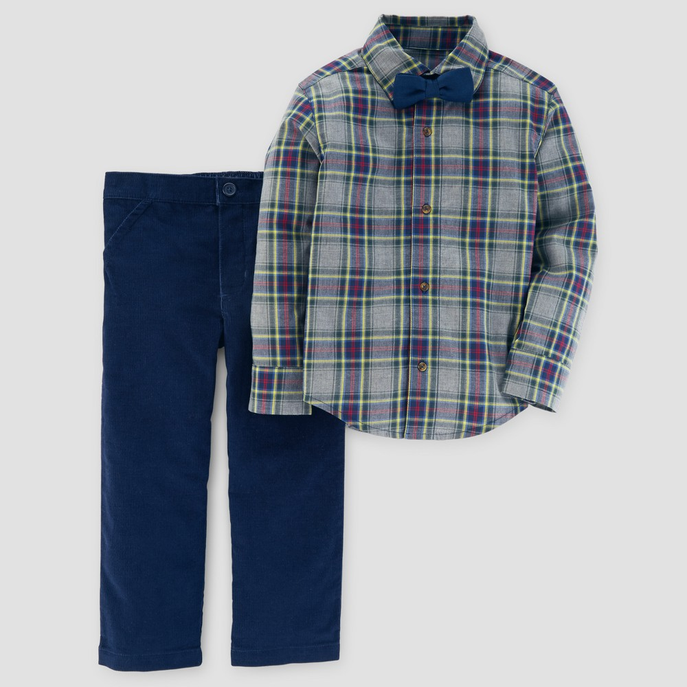 Toddler Boys 3pc Bow Tie and Pants Set - Just One You Made by Carters Brown/Navy 5T