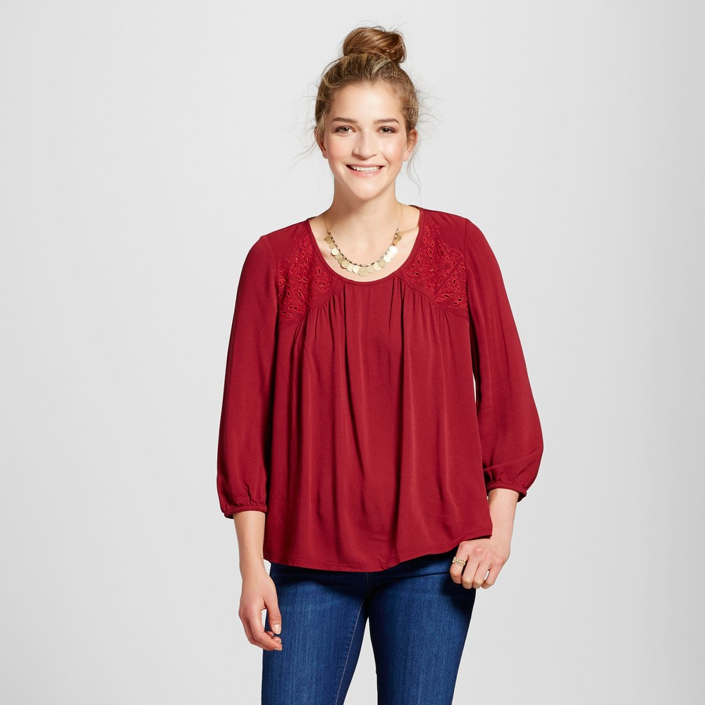Womens Eyelet Knit to Woven Top - Knox Rose Burgundy S, Red