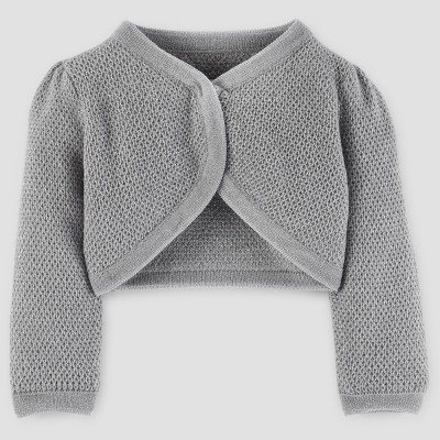 Baby Girls' Cardigan Sweater - Just One You™ Made by Carter's® Silver Metallic NB