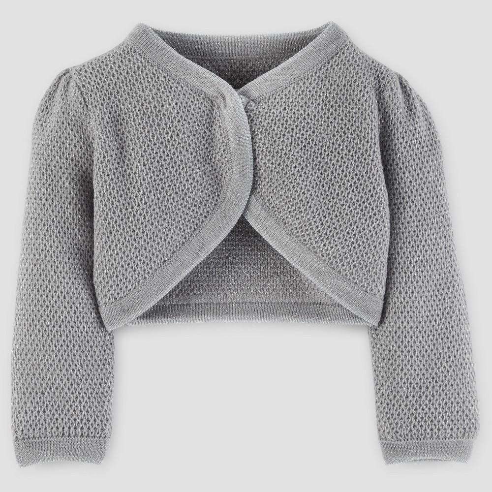 Baby Girls Cardigan Sweater - Just One You Made by Carters Silver Metallic NB, Gray