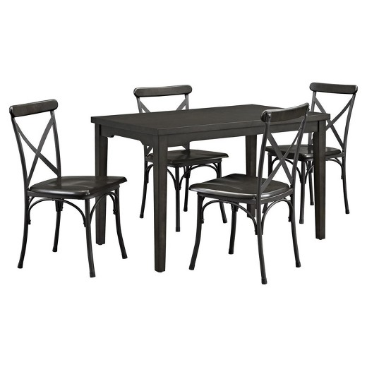 Rustic Metal Dining Chairs parker wood & metal dining set - rustic gray - dorel living® : target