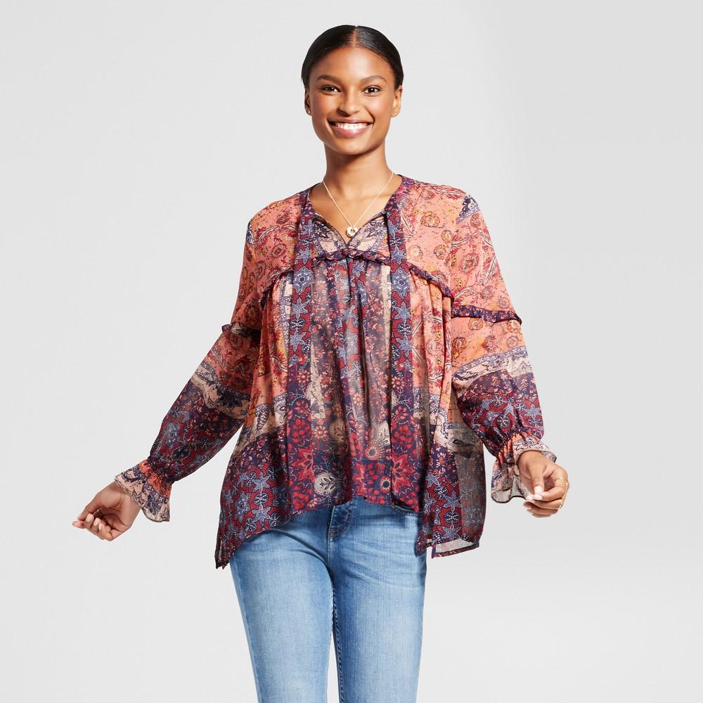 Women's Sheer Mix Print Ruffle Top - Knox Rose Coral Print L, Multicolored