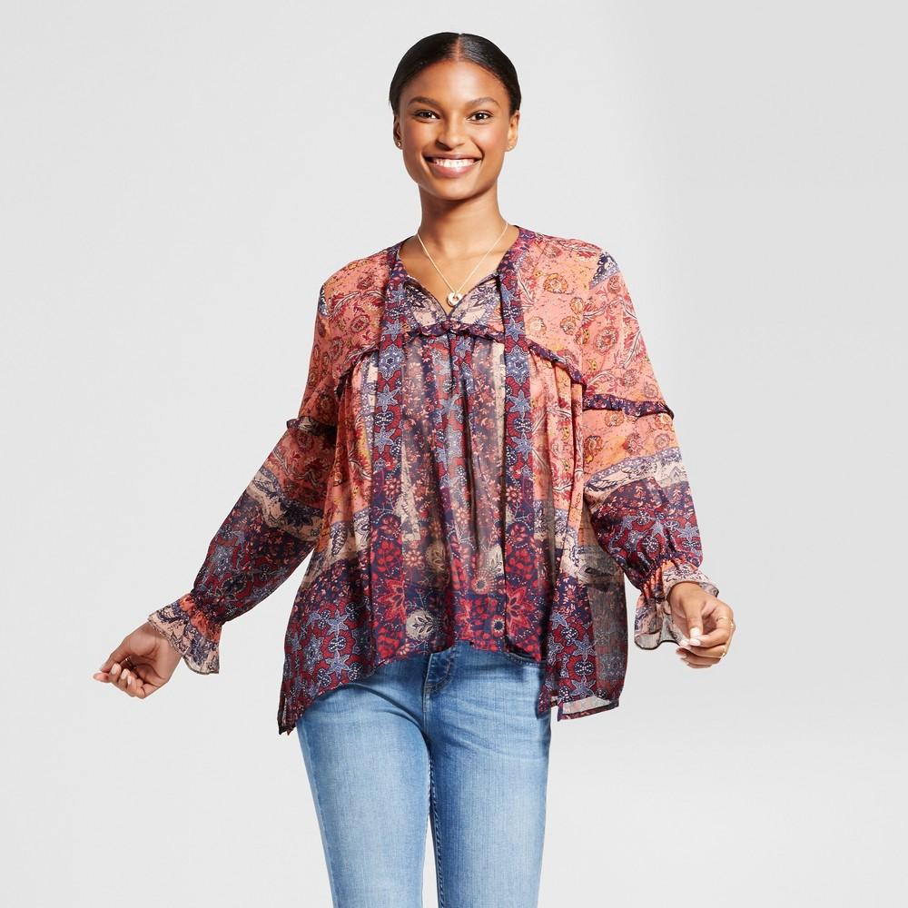 Womens Sheer Mix Print Ruffle Top - Knox Rose Coral Print S, Multicolored