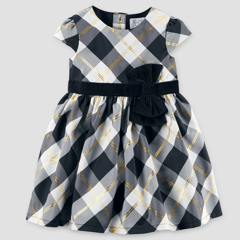 Toddler Girls Cap Sleeve Plaid Bow Dress - Just One You Made by Carters Black/White 4T
