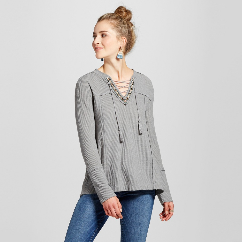Womens Ribbed Lace Up Top - Knox Rose Gray S