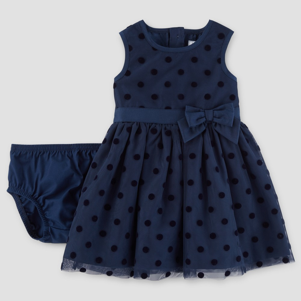 Baby Girls Sleeveless Dress - Just One You Made by Carters Navy 12M, Blue