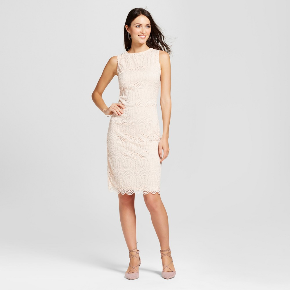 Womens Scoop Neck Lace Sheath Dress - Zac & Rachel - Blush 12, Pink