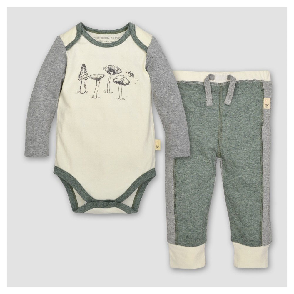 Burts Bees Baby Boys Organic Mushroom Bodysuit & Pants Set - Cream 6-9M, Size: 6-9 M, Beige