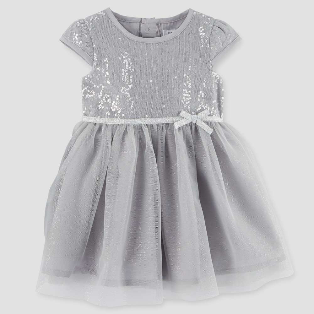 Toddler Girls Cap Sleeve Dress - Just One You Made by Carters Silver 2T, Gray